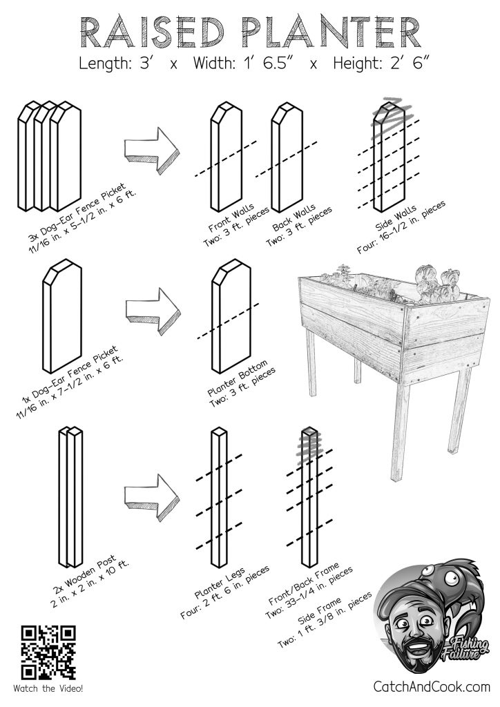 DIY Instructions for building Raised Redwood Planter printer friendly