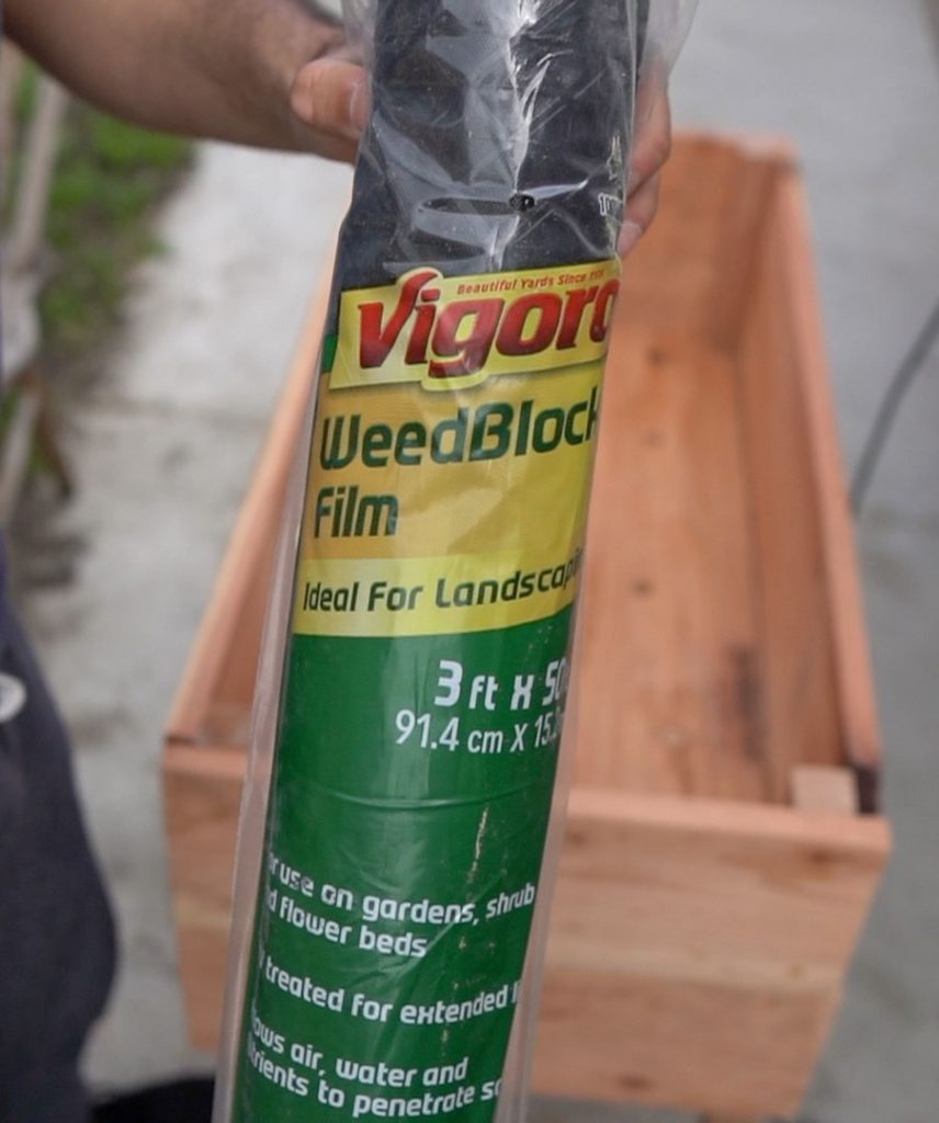 Weed liner for Raised Redwood Planter